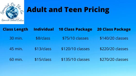 Spanish class pricing